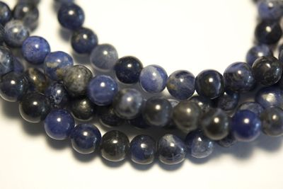 Hochwertige blaue bis blaugraue Sodalith Perle, 6 mm (1 Perle)