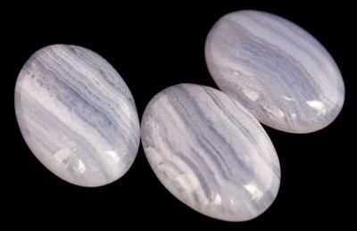 1 Blue Lace Achat Cabochons, 25x18mm