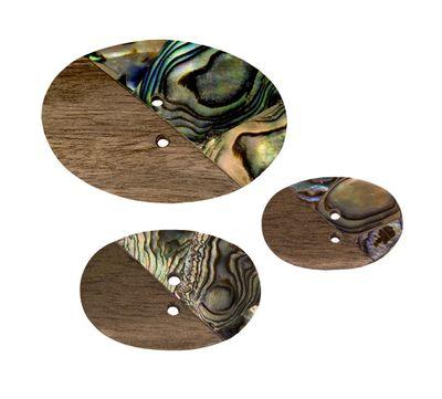 Handgefertigter Holzknopf Perlmutt-Intarsien oval 22 x 35 mm (1 Stück) – Bild 2