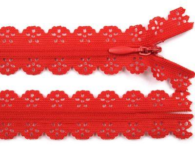 1 Spitzenreißverschluss, 2,3 cm breit, 16cm lang, rot