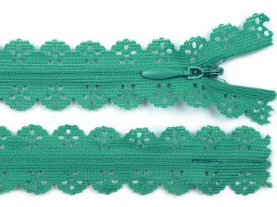 1 Spitzenreißverschluss, 2,3 cm breit, 16cm lang, grün