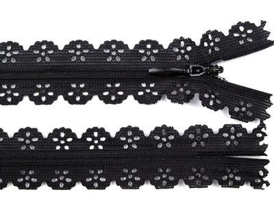 1 Spitzenreißverschluss, 2,3 cm breit, 16cm lang, schwarz