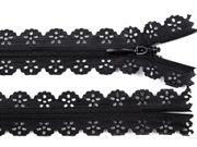 1 Spitzenreißverschluss, 2,3 cm breit, 16cm lang, schwarz 001