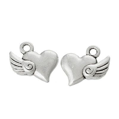 5 Charm Anhänger Flying Heart 14 x 13mm, antiksilber