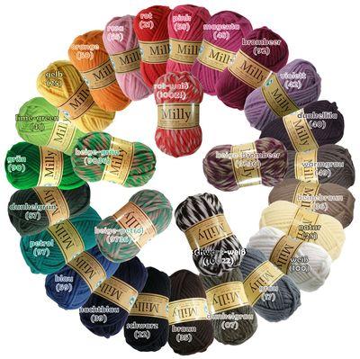 Wollpaket 20 x 50g Filzwolle MILLY bunt gemischt, Wolle zum Strickfilzen