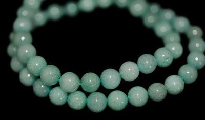 60 Türkise Amazonit Perlen (synthetisch) auf Strang 6 mm Edelstein Perlen – Bild 2