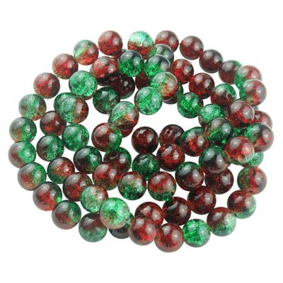 1 Strang Glasperlen Crackled Multicolor 10 mm, rot - grün ca. 82 Perlen  – Bild 1