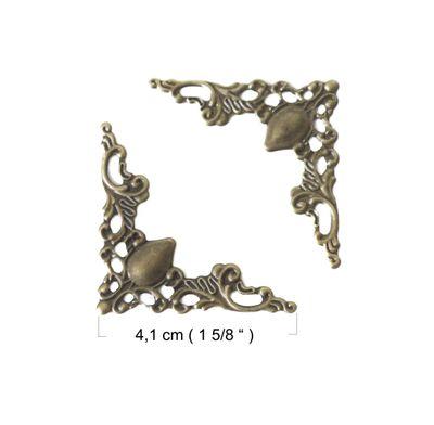 4 Ornamente Metall-Verzierung Deko-Ecke, 4,1 x 4,1 cm, altmessing  – Bild 2