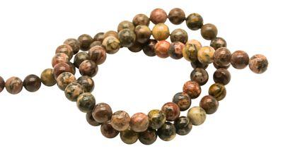 66 Hochwertige Leopardskin Rhyolith Perlen auf Strang, 6 mm