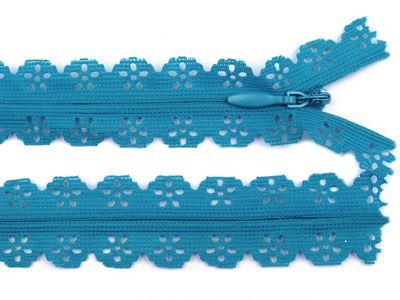 1 Spitzenreißverschluss, 2,3 cm breit, 16cm lang, hellblau