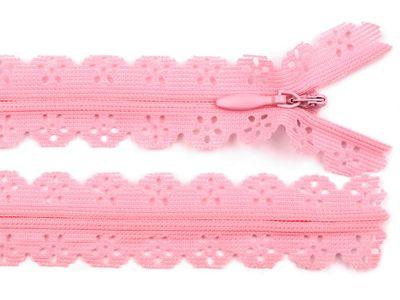 1 Spitzen-Reißerschluss Reissverschluss Spitzenreißverschluß, 2,3x18cm, rosa
