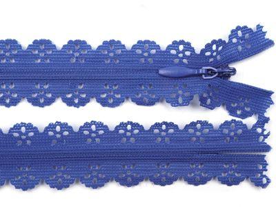 1 Spitzen-Reißerschluss Reissverschluss Spitzenreißverschluß, 2,3x18cm, blau