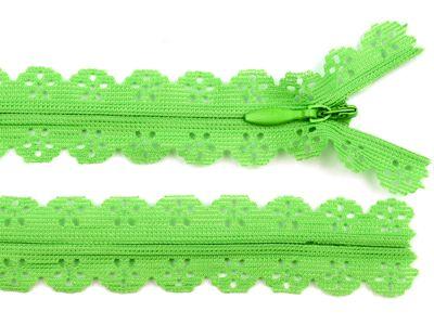 1 Spitzen-Reißerschluss Reissverschluss Spitzenreißverschluß, 2,3x18cm, grün