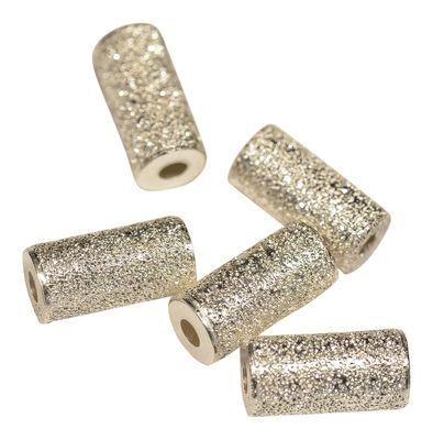 1 Edle Lazer Perle 10 x 5 mm zylindrisch Sterling Silber
