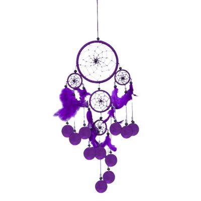 Dreamcatcher - Traumfänger TRAUMZAUBER, Länge ca. 50cm, lila, mit Capisscheiben