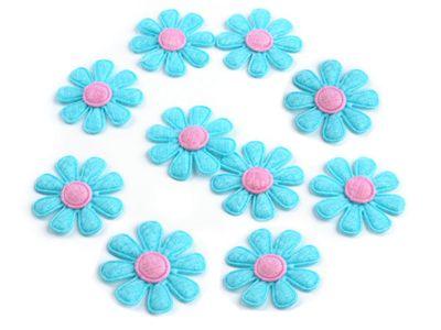 10 Aufnäher in Blütenform, ca.  2,7 cm, blau
