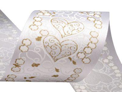 Satinband 80mm x 10m, f. Hochzeitsdekorationen, weiß m. Goldglitter