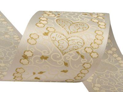 Satinband 80mm x 10m, f. Hochzeitsdekorationen, antikweiß m. Goldglitter