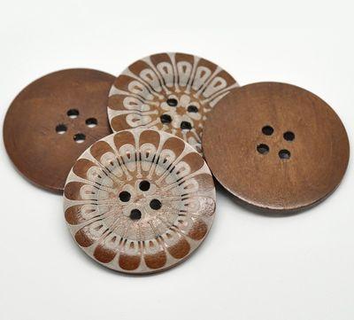 1 Holzknopf Kaffee, 6 cm, Motiv Flower  – Bild 3