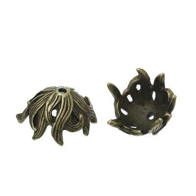 Zierperlen maDDma /® 2 Perlkappen 15x12 mm Endkappen Glocke
