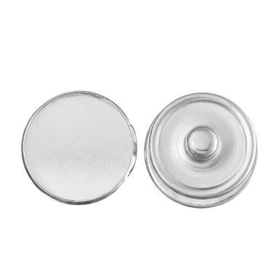 1 Wechsel-Chunk / Click Buttons, Fassung für Cabochons, silbern, Knauf ca. 5,5mm