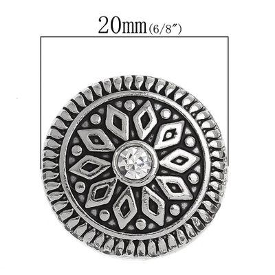"""1 Wechsel - Chunks / Click Buttons """"Rhombus"""", 20mm - antiksilber, Knauf ca.5,5mm – Bild 3"""
