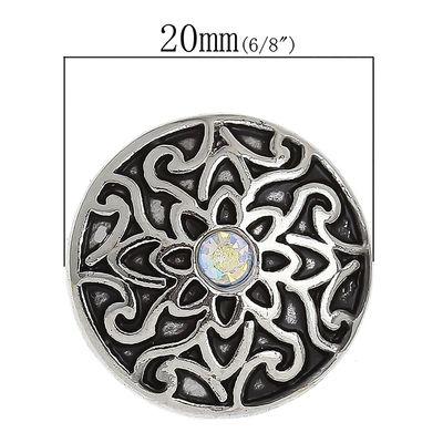 """1 Wechsel - Chunks / Click Buttons """"Floral"""" - antiksilber, Knauf ca. 5,5mm – Bild 3"""