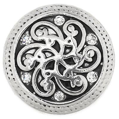 """1 Wechsel Chunks / Click Buttons, """"White Flower"""", antiksilber, Knauf ca. 5,5mm – Bild 1"""