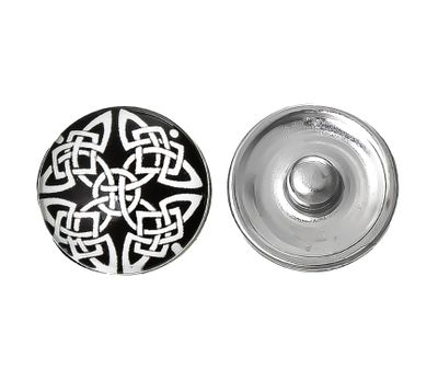 """Wechsel - Chunks / Click Buttons, """"Silver Tribal"""" (1 Stück), Knauf ca. 5,5mm – Bild 1"""