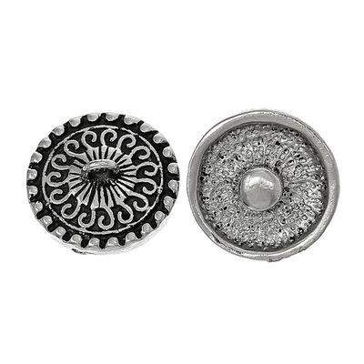 """Wechsel - Chunks / Click Buttons, """"Sun"""" - mit Öse, antiksilber, Knauf ca. 5,5mm – Bild 1"""