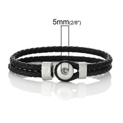 "Träger - Armband für Wechsel - Chunks / Click Buttons ""Black Leather"" (1 Stück) – Bild 2"