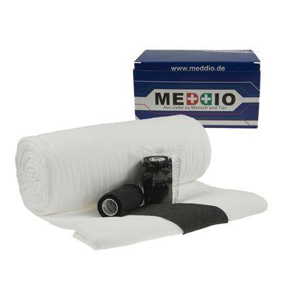 Mullwatterolle 40x500cm + 12 Haftbandagen 10cm schwarz selbsthaftende Bandagen