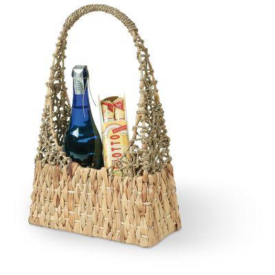 Präsentkorb Flaschenkorb für 3 Flaschen aus Wasserhyazinthe & Seegras