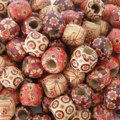 """100 Holzperlen """"Flower"""" 17x16mm Bastelperlen Schmuckperlen Perlen Holz bedruckt"""