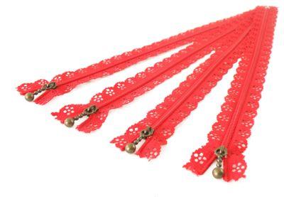 1 Spitzen-Reißverschluss Reissverschluss Spitzenreißverschluss 30cm, #20 rot