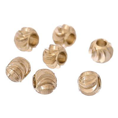 10 Kupferperlen, 3mm, rund / geriffelt, sanftgold