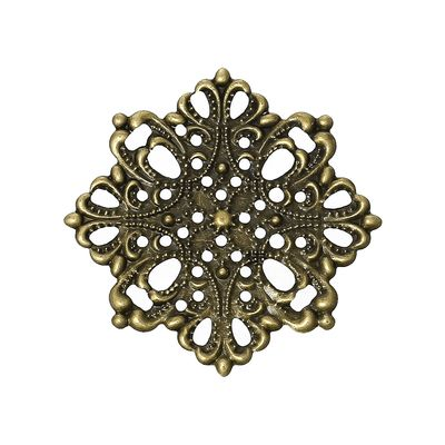 10 Deko-Ornament Blume 44x44mm antikmessing, Metallornament Metall-Verzierung – Bild 1