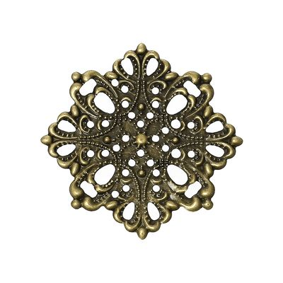 100 Deko-Ornament Blume 44x44mm antikmessing, Metallornament Metall-Verzierung – Bild 1