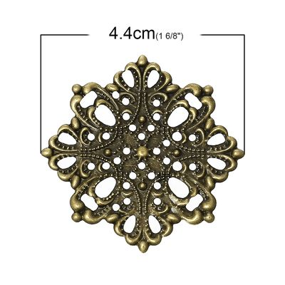 100 Deko-Ornament Blume 44x44mm antikmessing, Metallornament Metall-Verzierung – Bild 2