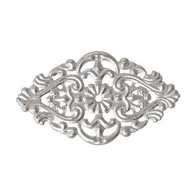 10 Deko - Ornament - Platten, Flower, 55x32mm, silbern – Bild 2