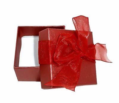 1 Luxuriöse Geschenkschachtel rot 5 x 5 cm m. Schleife