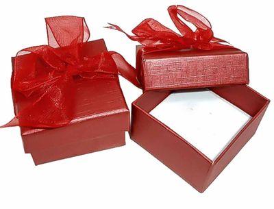 10 Geschenk-Schachteln rot 5x5 cm Schleife Ringbox Schmucketui Ringschachtel Ringetui