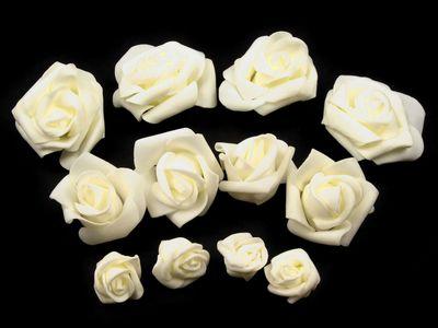 12 Deko Rosen / Rosenblüten 3-6cm, creme