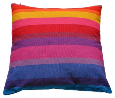 Kissenhülle Happy Stripes - Fair Trade, 100% Baumwolle, 60x60cm - bunt gestreift