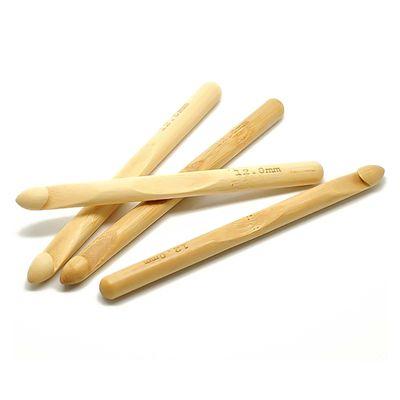 1 Bambus Häkelnadel 12 mm Häkelhaken Naturmaterial Holz handgelenkfreundlich