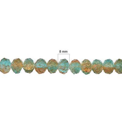 1 Strang Kristallglas Perlen facettiert 8 mm, türkis-braun – Bild 3