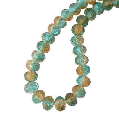 1 Strang Kristallglas Perlen facettiert 8 mm, türkis-braun