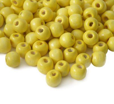 200 Holzperlen 10 x 9mm, gelb Bastelperlen Schmuckperlen Perlen