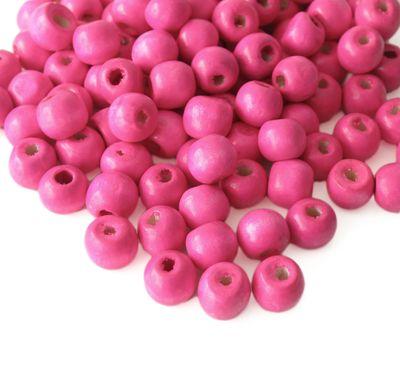 200 Holzperlen 10 x 9mm, pink