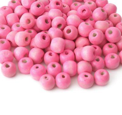 200 Holzperlen 10 x 9mm, rosa